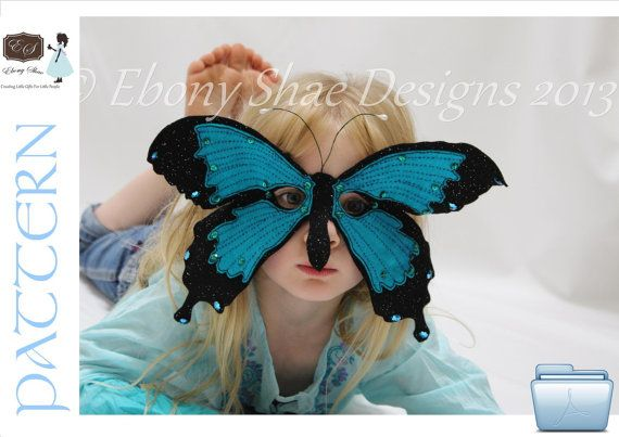 Child's Ulysses Butterfly Mask PATTERN.  One Size by EbonyShae, $4.00
