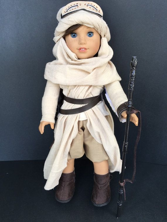 "American Girl 18"" Doll Star Wars Rey Costume; V-Neck SS T, Gauze sash & Arm Wraps, Leather bracelet, Pants, Boots, Headdress, Goggles, Staff by FizzyZigZag on Etsy  $68.95"