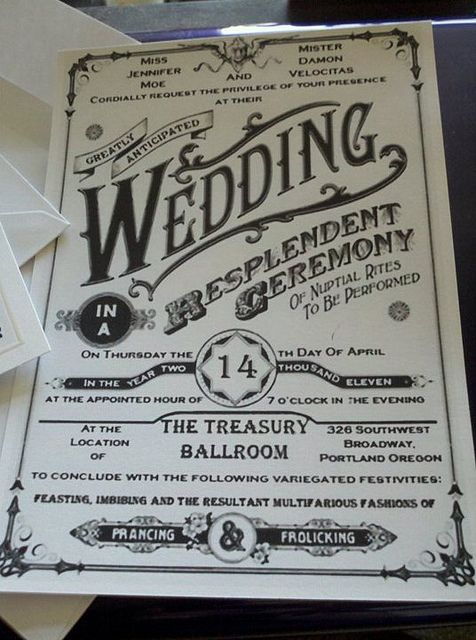 Steampunk wedding invitation for a most unique shindig. The typography is fabulous!