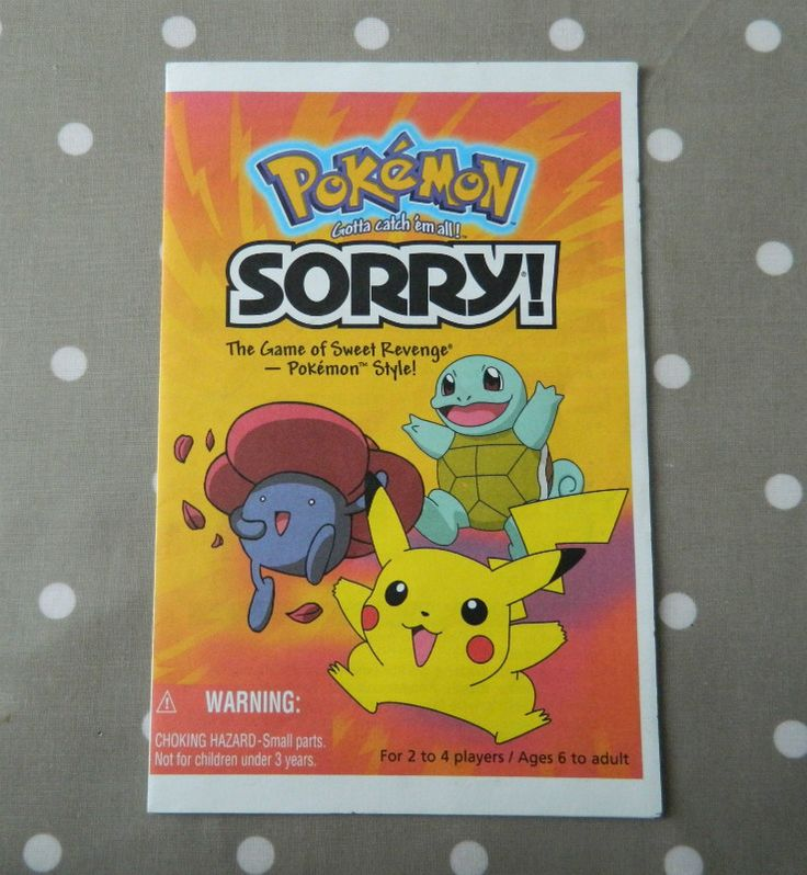 Pokemon Sorry Game Rules, Instruction Leaflet, Booklet, Rule Book