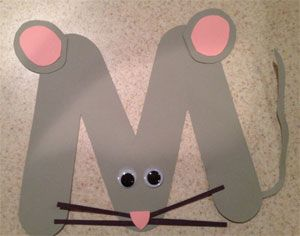 letter m mouse craft - M and W can be tricky to learn; this appealing,hands-on M could help children remember the correct shape.