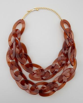 Double-Strand Enamel Link Necklace, Tortoise by Kenneth Jay Lane at Neiman Marcus.