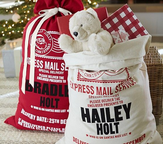 Holiday Decor Gift Ideas Pottery Barn Edition All My: Personalized Express Delivery Santa Bags