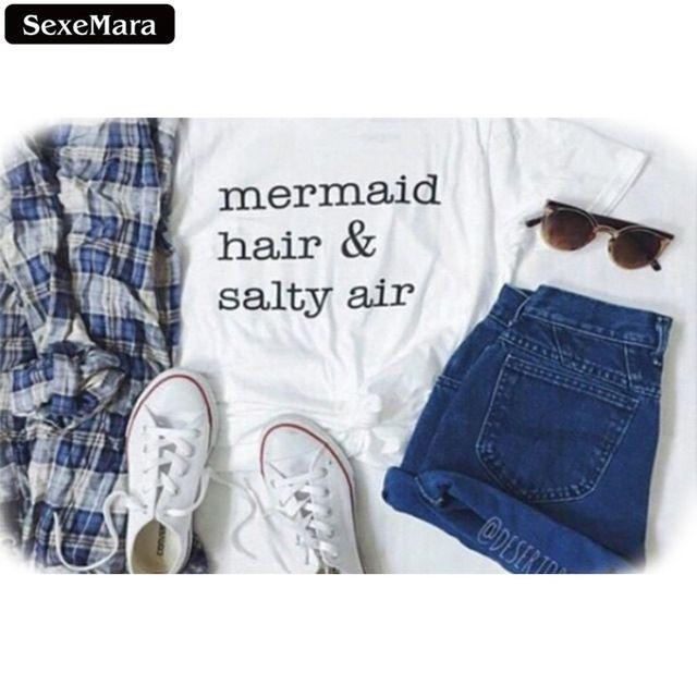 """SexeMara """"cabelo sereia & ar salgado"""" padrão Harajuku Estilo Branco T camisas de Manga Curta De Fitness Blusa T-shirt Mulheres Encabeça F1163"""