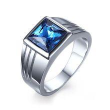 Masculino de Aço Inoxidável Anel de Pedra Azul Safira Jóias Anel de Casamento para Os Homens Anel de Noivado Titanium CZ Diamante Atacado(China (Mainland))