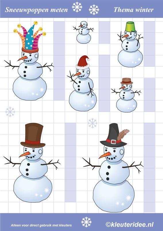 Sneeuwpoppen meten, thema winter, kleuteridee.nl , Preschool snowmen measure, free printable.