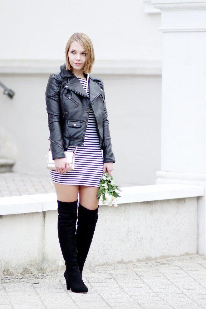 outfit, streetstyle, black leather jacket, ralph lauren leather jacket, striped dress, golden bag, black overknees, overknees outfit, minimal outfit, monochrome, bezauberndenana