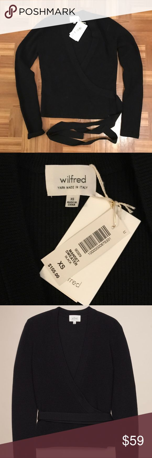 ARITZIA NWT MANSET black wrap sweater XS Brand new, never worn Aritzia 'manset' wrap sweater in black XS. Including the cream image so you can see how this looks on. Perfect condition! Wilfred reinvents the dancer wrap in Italian-milled virgin wool that's luxe, lightweight and warm.   Features Keyhole at the right side seam for the belt Fit: Slim — streamlined to fit close to the body Sizing: Fits true to size. Take your normal size Model is 5'11/180cm wearing a size S Content: 100% virgin…