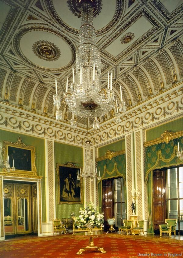Inside Buckingham Palace - green drawning room, London, UK. https://www.royalcollection.org.uk/visit/the-state-rooms-buckingham-palace  ; Buckingham Palace is the Queen's official London residence and is used to receive and entertain guests on state, ceremonial and official occasions for the Royal Family. The palace was originally built in 1705.  The Palace is located between The Green Park, Hyde Park and St. James's Park ... http://www.tourist-information-uk.com/buckingham-palace.htm