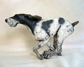 Running Dog - ceramic sculpture by Christine Cummings