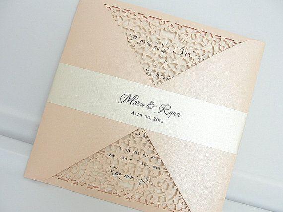 Laser Cut Wedding Invitation Blush Wedding por LavenderPaperie1