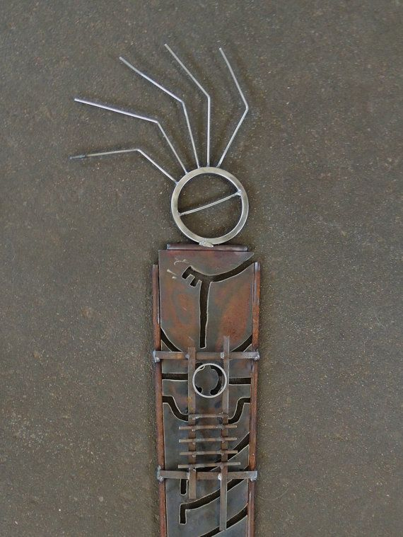 RESERVED FOR CAPRI, Primitive Metal Garden Sculpture, Shaman, Garden Art, Metal Sculpture, Indoor Outdoor Sculpture, Southwestern Sculpture  Once