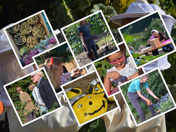 Burendag 2015, alles in het teken van de bijtjes...... Nieuwe fruitstruikjes/boompjes planten en bijenhotelletjes gemaakt.....