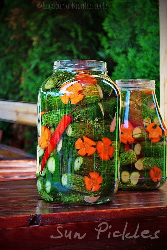 Sun pickles - A simple 5-day, you-can't-ruin-it recipe. Not only is this probiotic and without the lactic acid, I'm also in love with the carrots. I need to remember to use my flower vegetable cutters when I do pickled carrots.