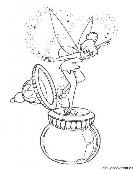 Dibujo de Campanilla y una vasija