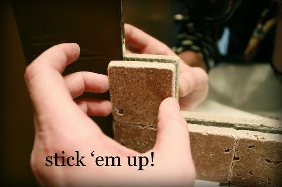 Use silicone adhesive to glue tile to the edge of raw edge mirrors. i love this! easier than framing the mirror and looks just as great!! - Click image to find more DIY & Crafts Pinterest pins