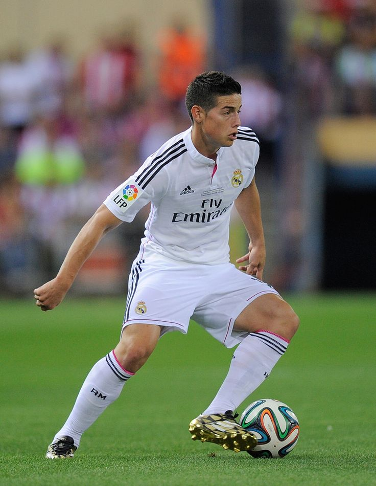 James Rodriguez of Real Madrid in action during the Supercopa, second leg match between Club Atletico de Madrid and Real Madrid at Vicente Caldron stadium on August 22, 2014 in Madrid, Spain.