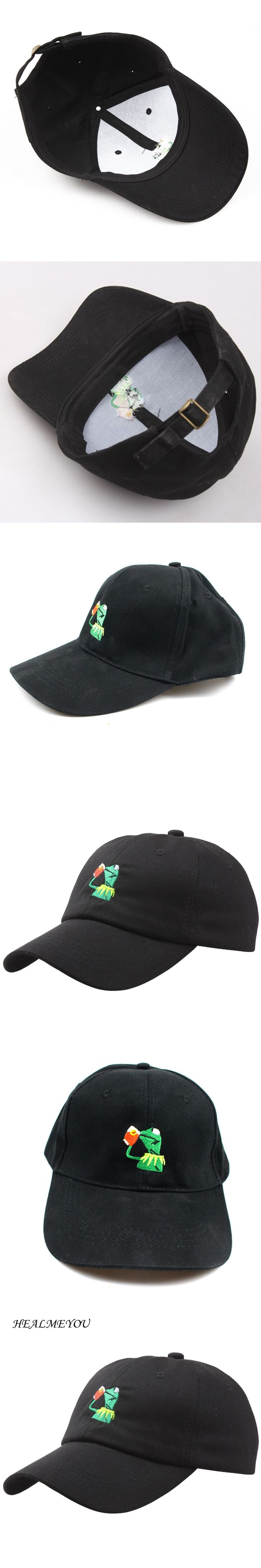 Fashion Black Kermit Tea Hat The Frog Sipping Drinking Tea Baseball Dad Visor Cap Emoji Hats