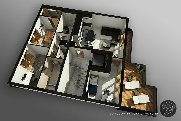 3d alaprajz látványterv készítés - 3d design plan rendering production