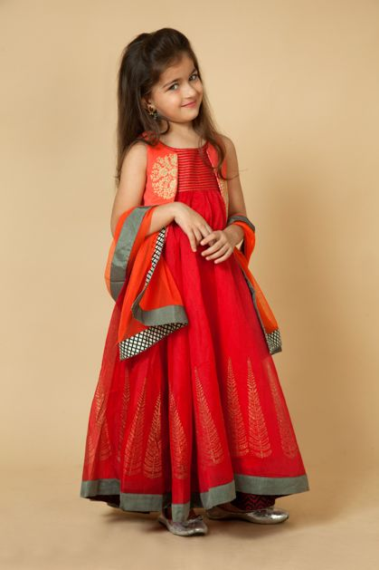 KG15-10 - Chanderi kurta with block print with printed lycra leggings and net dupatta