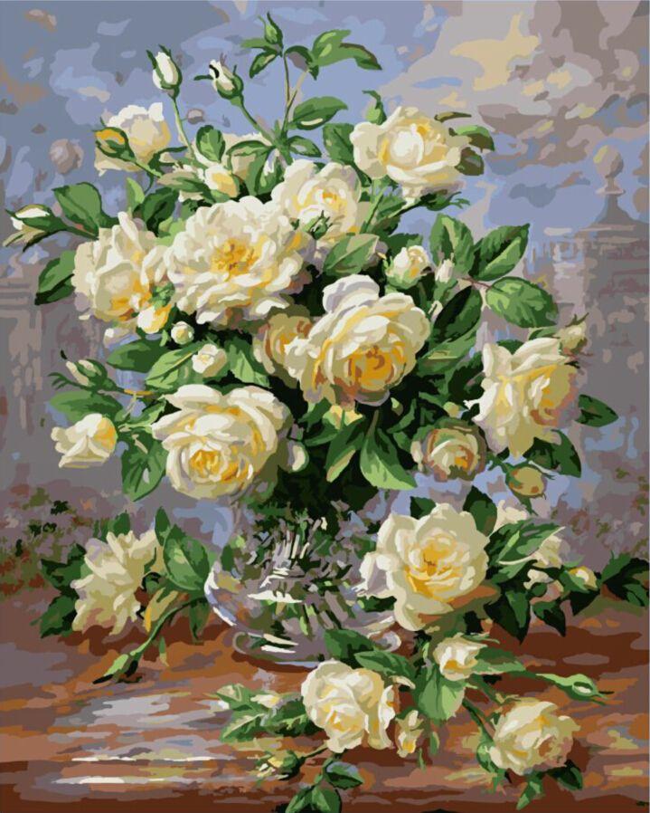 Безрамное фото на стене акриловой живописи по номерам абстрактная живопись маслом уникальный подарок краски по номерам цветущий роуз G439 купить на AliExpress