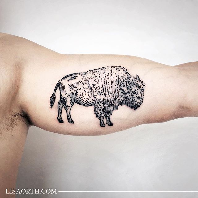 Bison for Kyle, thanks for traveling to get tattooed. Artwork and photo © 2016 Lisa Orth.