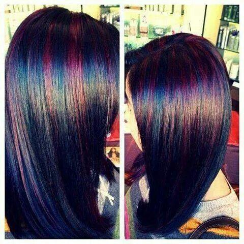 Dark hair with multi colored streaks