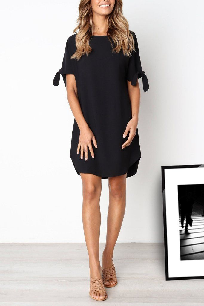 56db44431b Venidress Round Neck Knot Sleeves Black Knee Length Dress – VENI ...