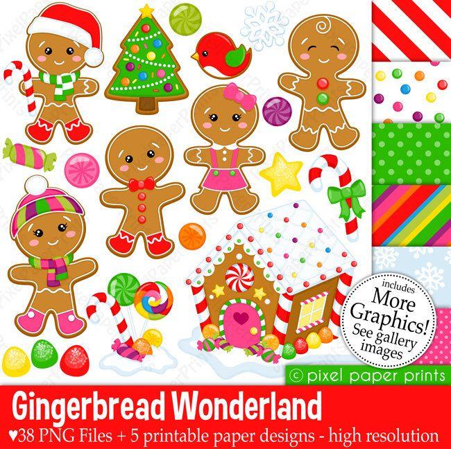 Gingerbread Wonderland - Christmas clipart - Clip Art and Digital paper set by pixelpaperprints on Etsy https://www.etsy.com/uk/listing/209152935/gingerbread-wonderland-christmas-clipart