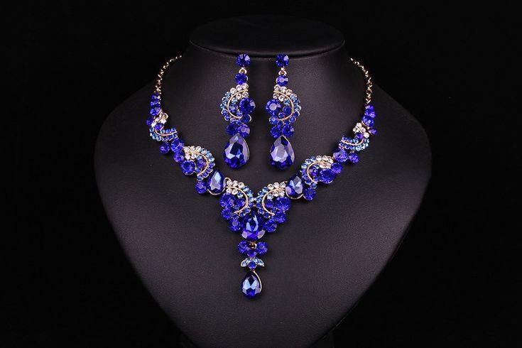 Новая мода свадьба Синий Сапфир горный хрусталь комплект ювелирных изделий невесты невесты или пром позолоченный комплект серьги ожерелья женщиныкупить в магазине Maynice Jewelry (Factory Direct)наAliExpress