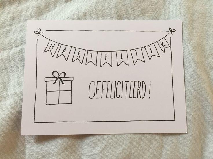 Verjaardagskaart met handlettering: hartelijk gefeliciteerd! Zo leuk om te maken :-)