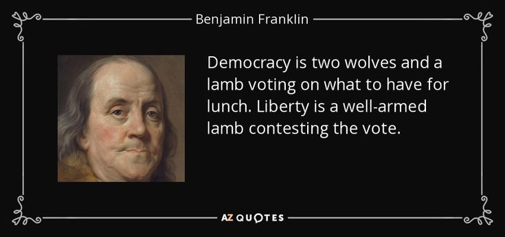 Democracy is two wolves and a lamb voting on what to have for lunch. Liberty is a well-armed lamb contesting the vote. - Benjamin Franklin