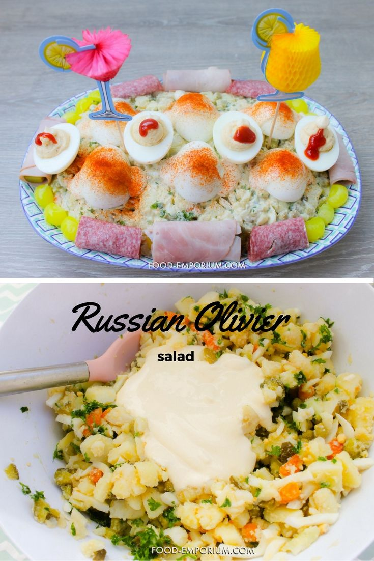 Russian olivier salad with deviled eggs, ham and salami wrapped up in pickles.  Find our recipe here: http://food-emporium.com/russian-olivier-salad/  #Russiansalad #oliviersalad #Potatoesalad #Deviledeggs #Huzarensalade