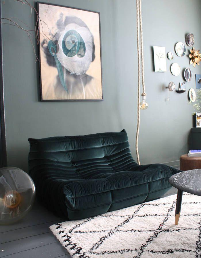Le Mythique Canape Togo En 20 Inspirations Elle Decoration Canape Togo Deco Canape Vert