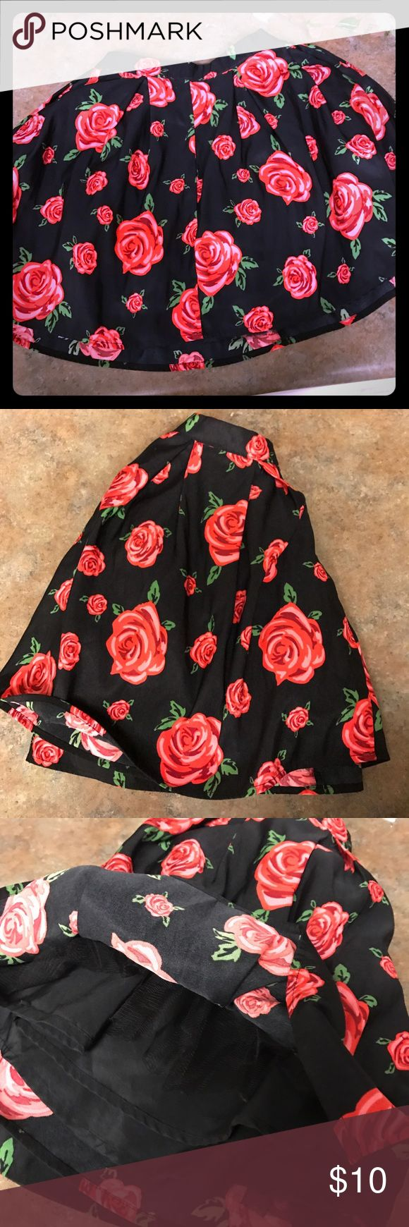 H&M Rose Black Circle Skirt Brand new circle skirt. Taken in on the waist H&M Skirts Circle & Skater