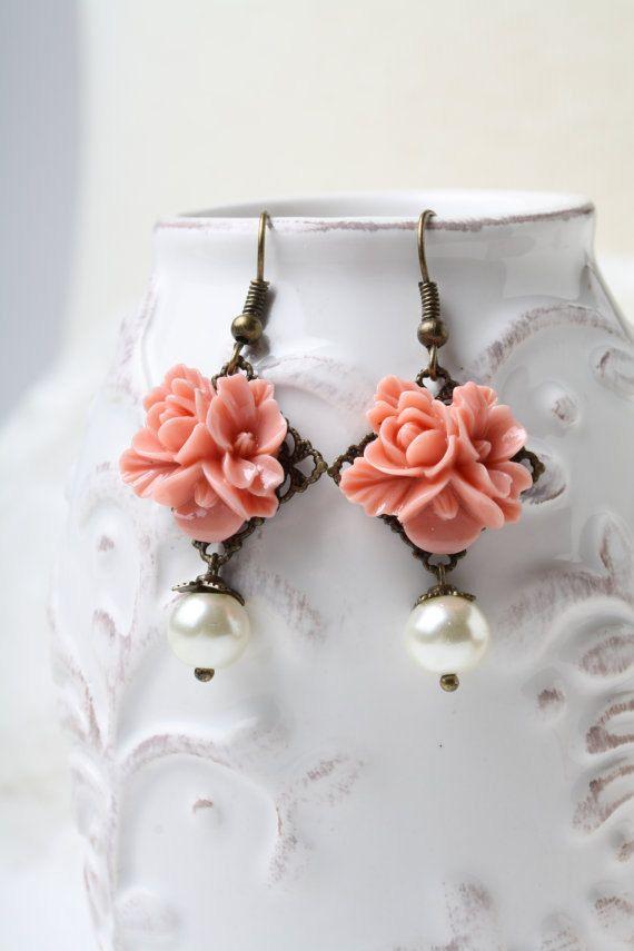 Salmon wedding Earrings Salmon Wedding Jewelry by CharmanteBijoux
