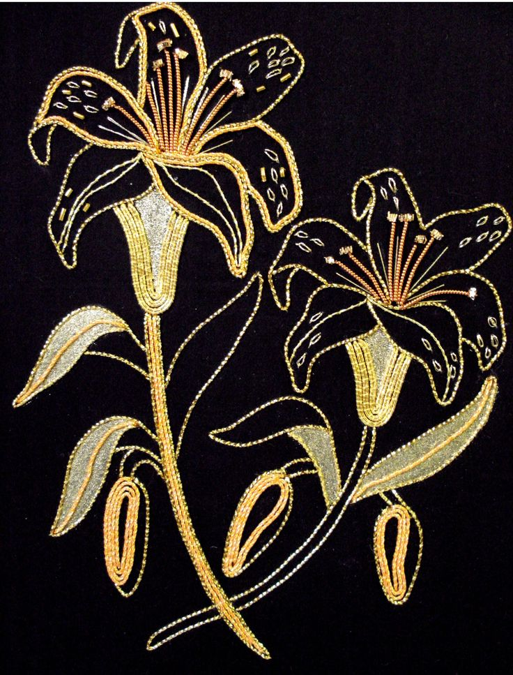 Golden lillies gold embroidery by kathleen laurel sage