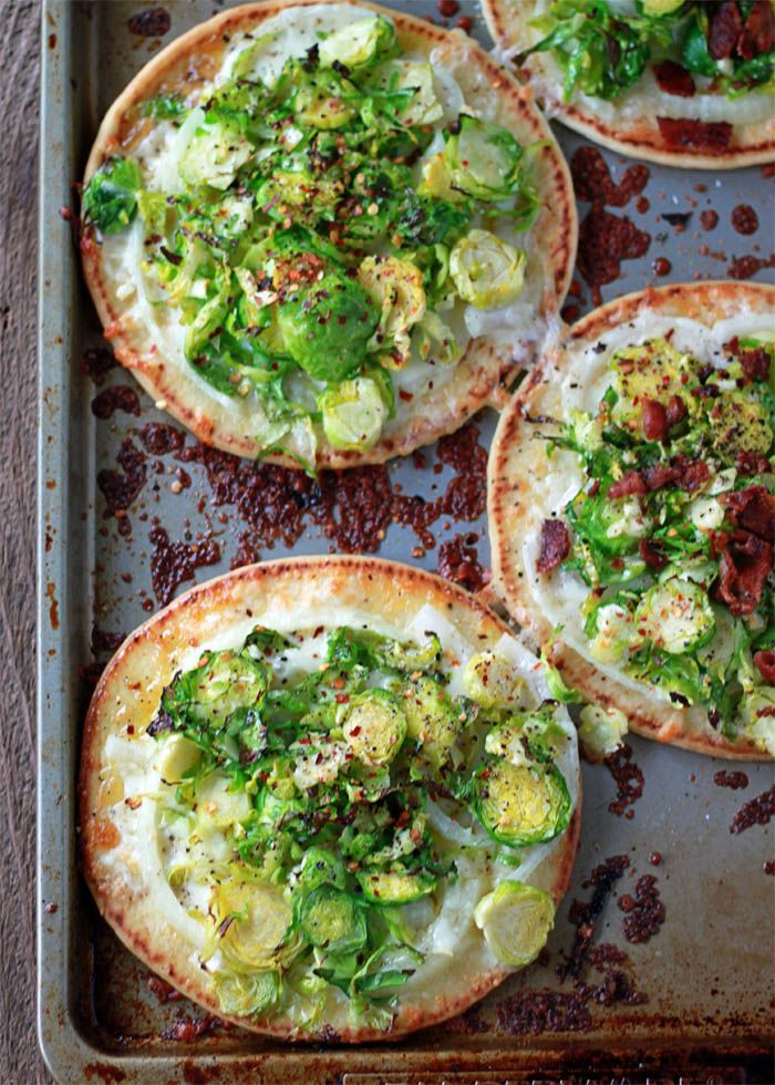 Easy Brussels Sprouts Pita Pizzas with Optional Bacon