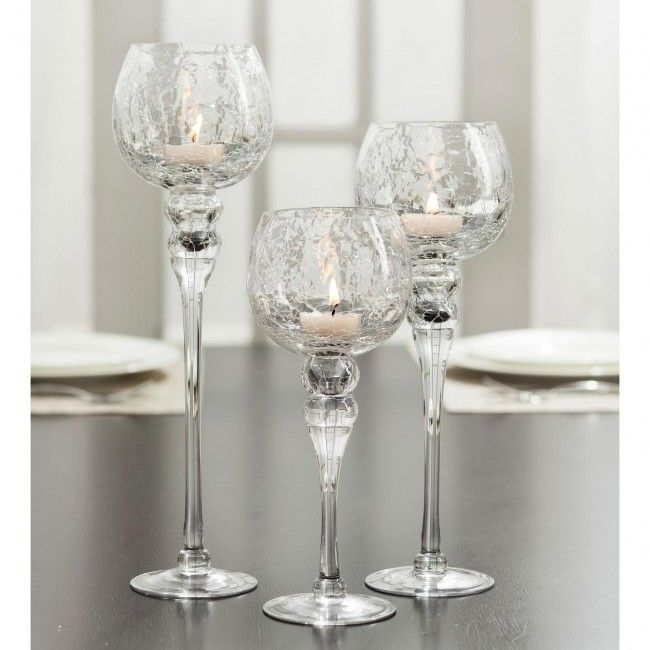 Transform your home with this lovely set of three candleholders.  Just fill them up with candles, pebbles, seashells, glass beads or coloured sand and make these elegant candleholders into a really impressive centrepiece!  Display as singles or a set of three - they will add the perfect finishing touch to your home decor.