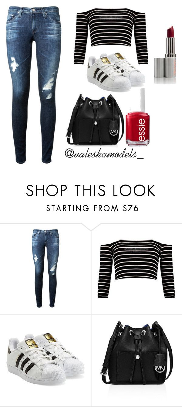 """Go to School"" by valeska-models on Polyvore featuring moda, AG Adriano Goldschmied, adidas Originals, MICHAEL Michael Kors y Essie"