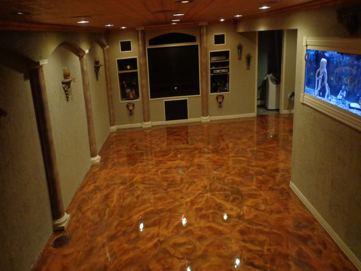Concrete staining basement peoria il illinois decorative for Concrete basement floor