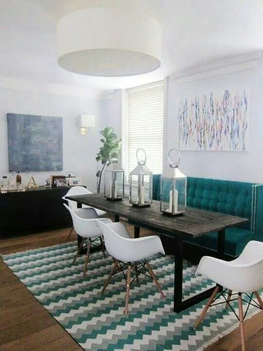 High Back Couch At Dining Table To Create Cozy Booth Effect Dining Room Cozy Narrow Dining