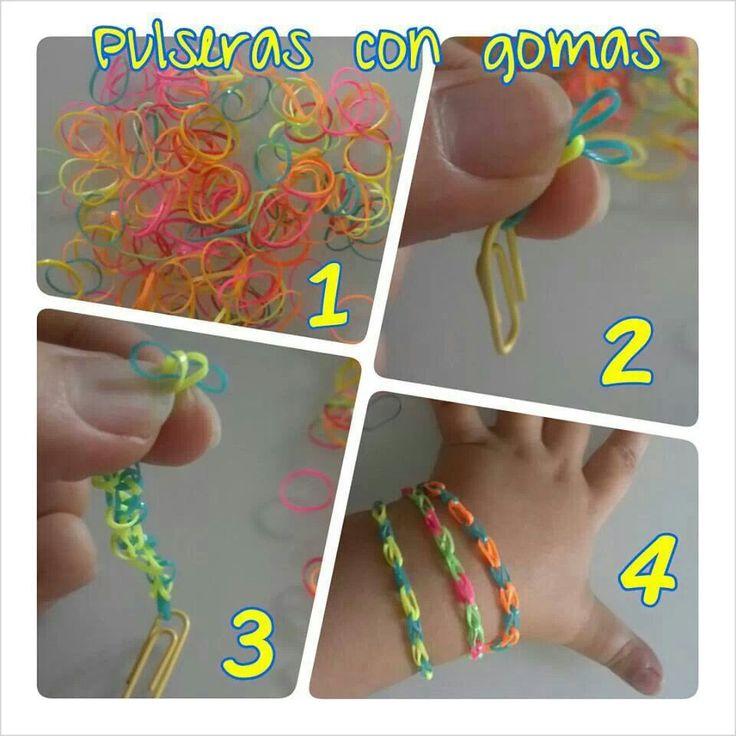 Pulseras con gomas: Wristbands, Kids Crafts, Con Gomas, Ideas Para, Craft, Bracelets, Con Gomitas, Pulseras Gomas