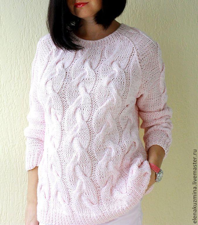 """Купить Свитер """"Пастила"""" - бледно-розовый, сиреневый, свитер, косы, пастельные тона, вязаный свитер"""