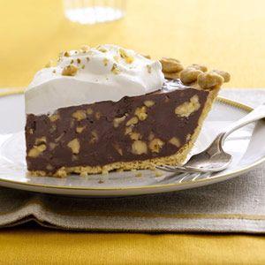 Dark Chocolate-Walnut Caramel Pie - Thanksgiving Recipes - Desserts - Country Living