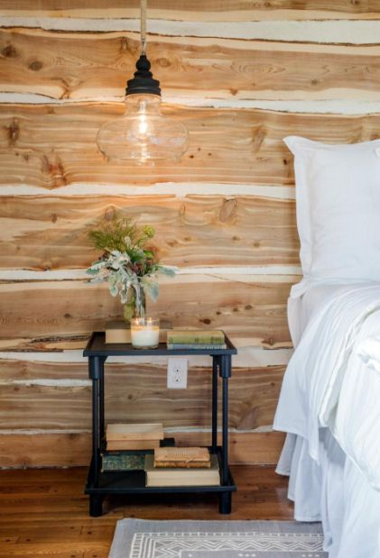 faux log wall in bedroom                                                                                                                                                      More