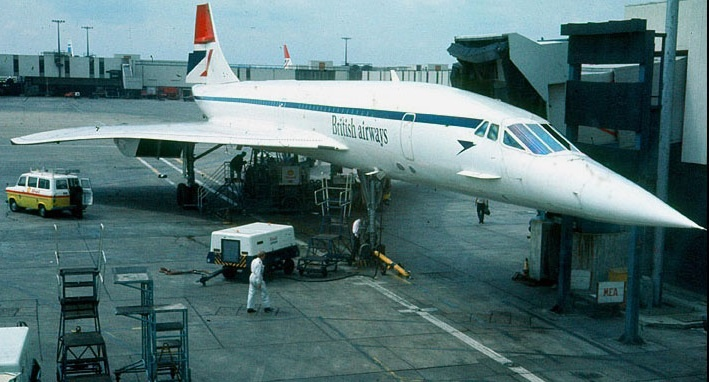 British Airways Concorde in early BA livery at London Heathrow Airport, in the 1980s