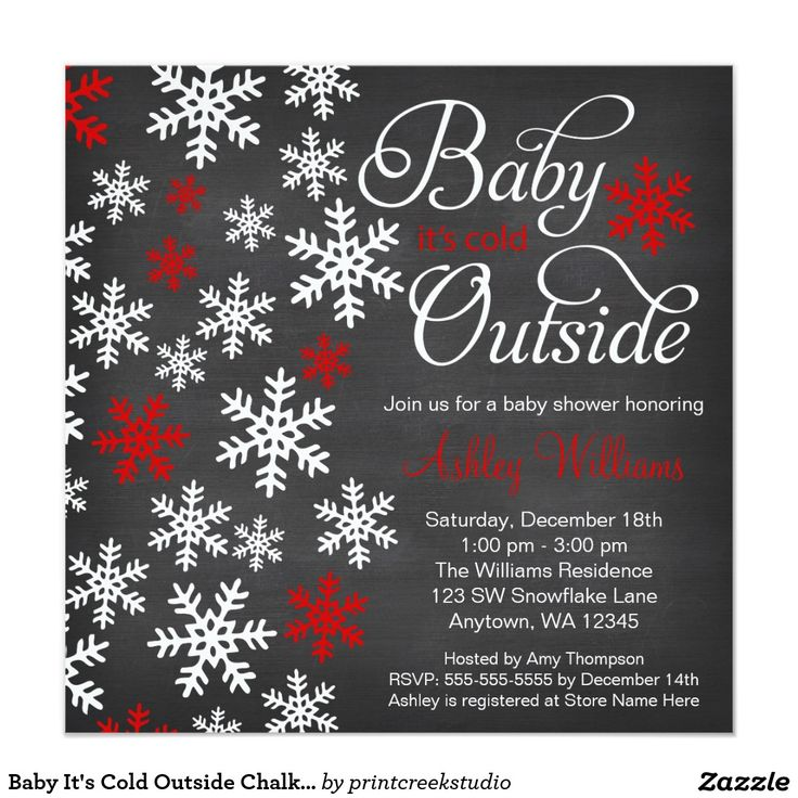Baby It's Cold Outside Chalkboard Red Baby Shower Invitation