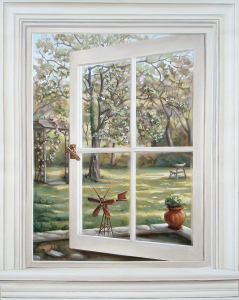 Trompe loeil window mural