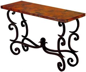 The forged fountain console table features corner scroll for Comedores cyber monday